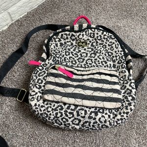 Betsey Johnson stripe and leopard print backpack